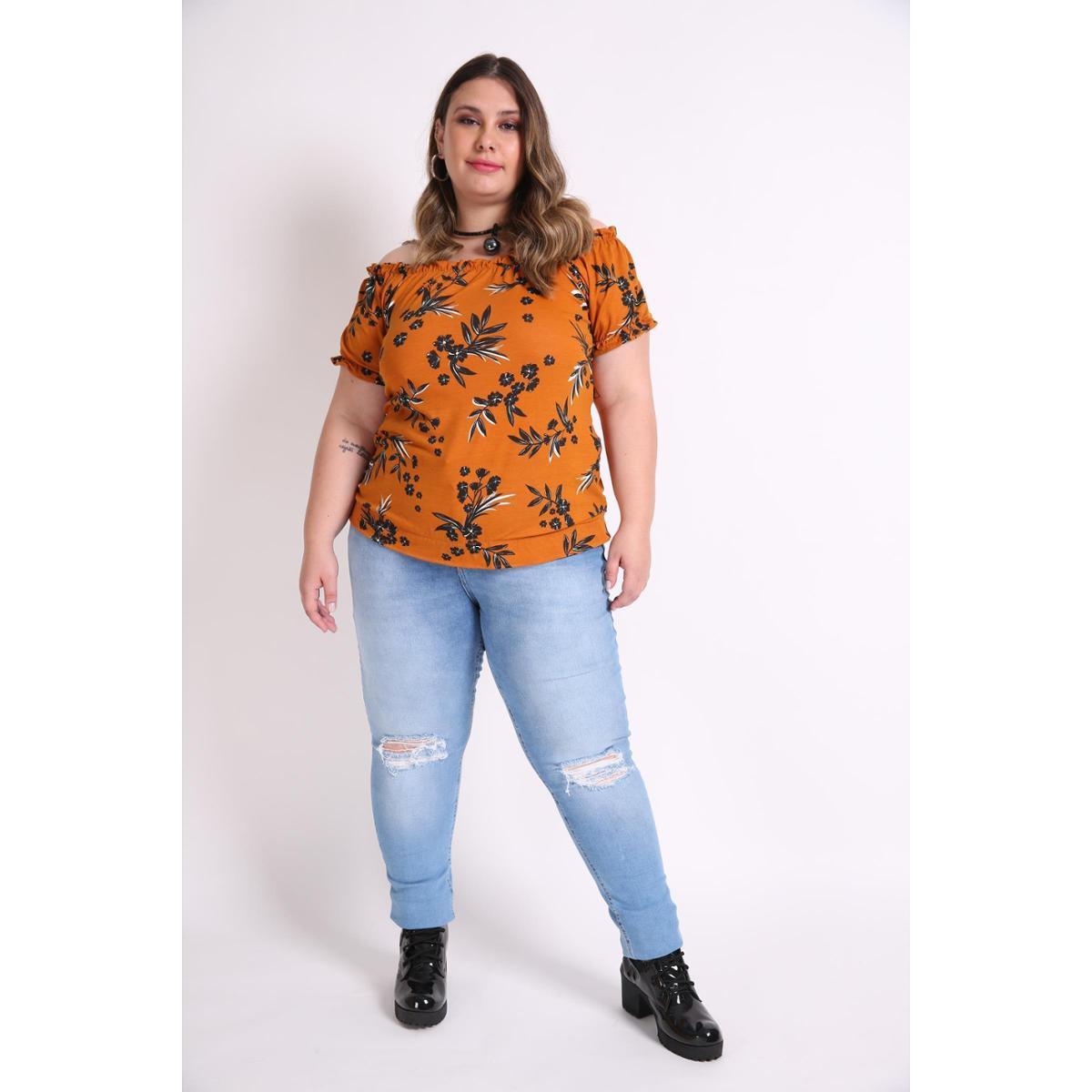 Blusa Kauê Plus Size Ombro a Ombro Floral Feminina - Caramelo