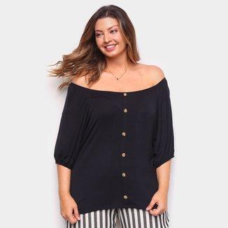 Blusa Lecimar Plus Size Com Botões Feminina