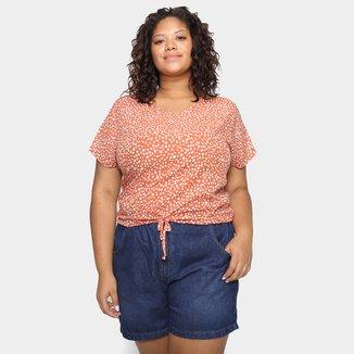 Blusa Lecimar Plus Size Estampada Amarração Feminina