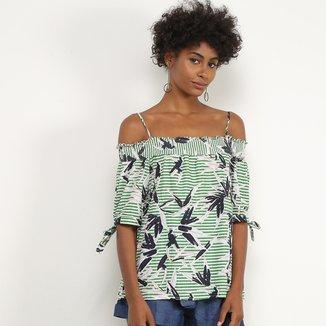 Blusa Lily Fashion Listrada Alcinha Feminina
