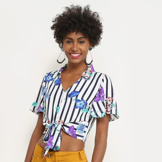 Blusa Lily Fashion Listrada Floral Feminina