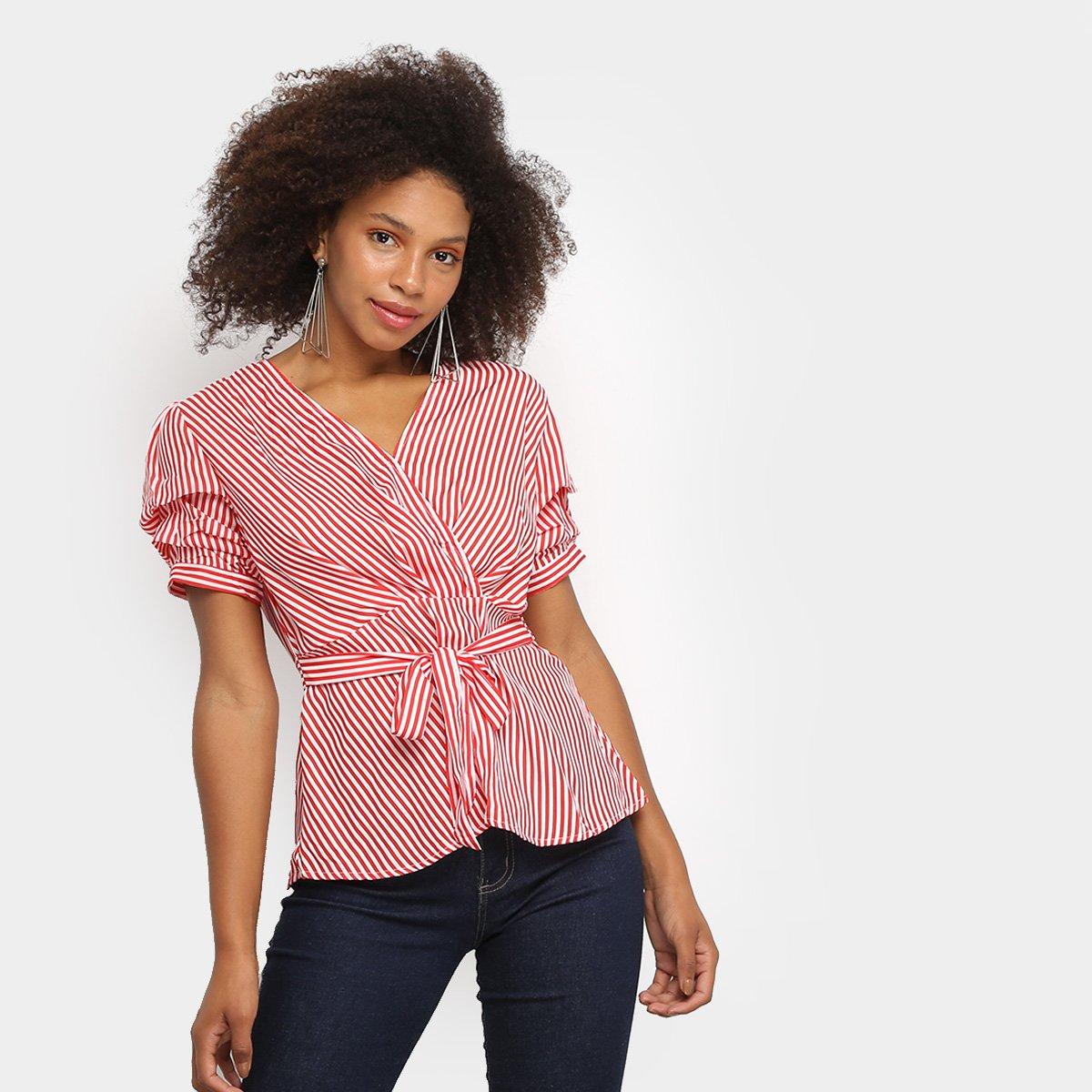 Blusa Lily Fashion Listrada Transpassada Faixa Feminina - Vermelho F15CF1Dd