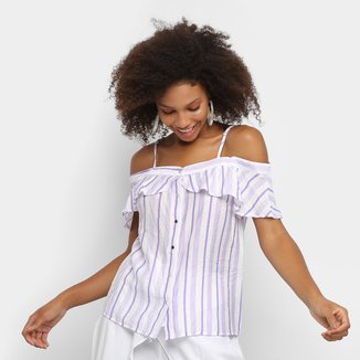 Blusa Lily Fashion Open Shoulder Listrada Feminina