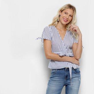 Blusa Lily Fashion Transpasse Listra Babado Feminina