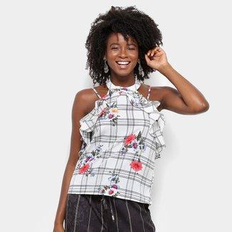 Blusa Lily Fashion Xadrez Floral Babados Feminina