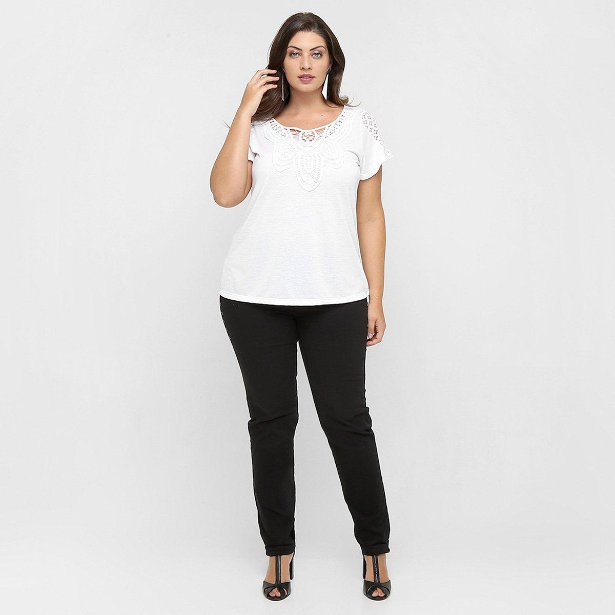 cd467e5736 Blusa Lisamour Guipir Plus Size - Compre Agora