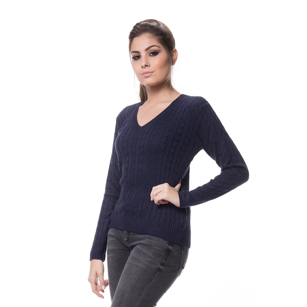 Blusa Logan Tricot Basica de Trança - Azul Escuro - Compre Agora ... 11789c84a9d