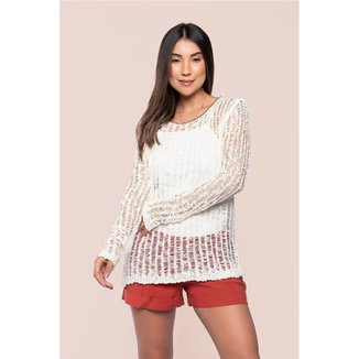 Blusa manga longa crochet detalhe corrente