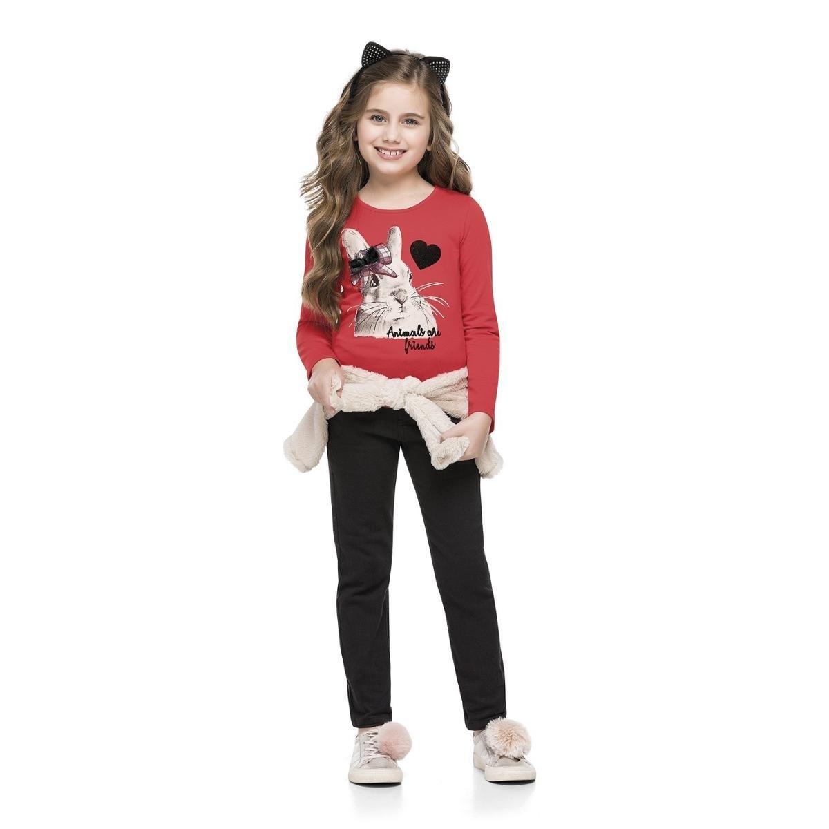 Blusa Manga Longa Infantil Cotton Quimby Feminina - Vermelho ... f14964272dc