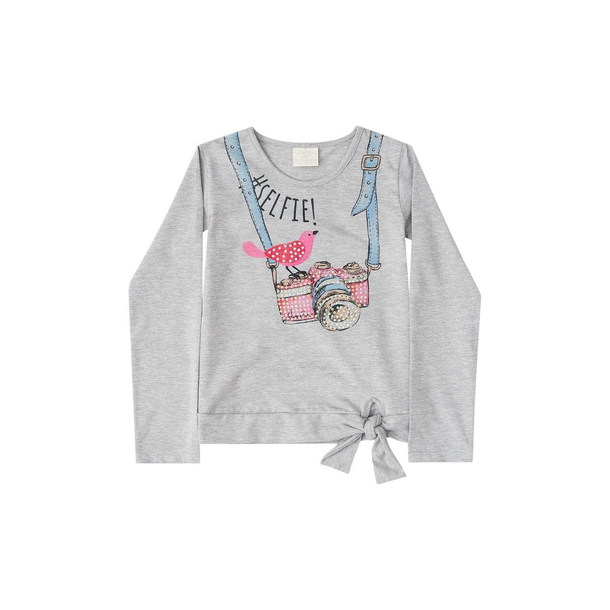 Blusa Manga Longa Infantil Cotton Quimby Feminina - Cinza Claro ... bc037680955