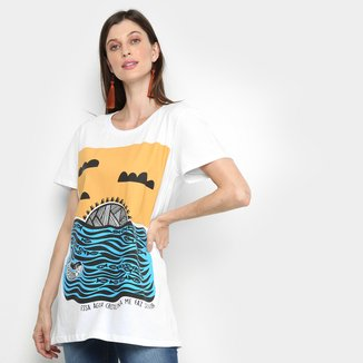 Blusa Mercatto Estampada Alongada Feminina
