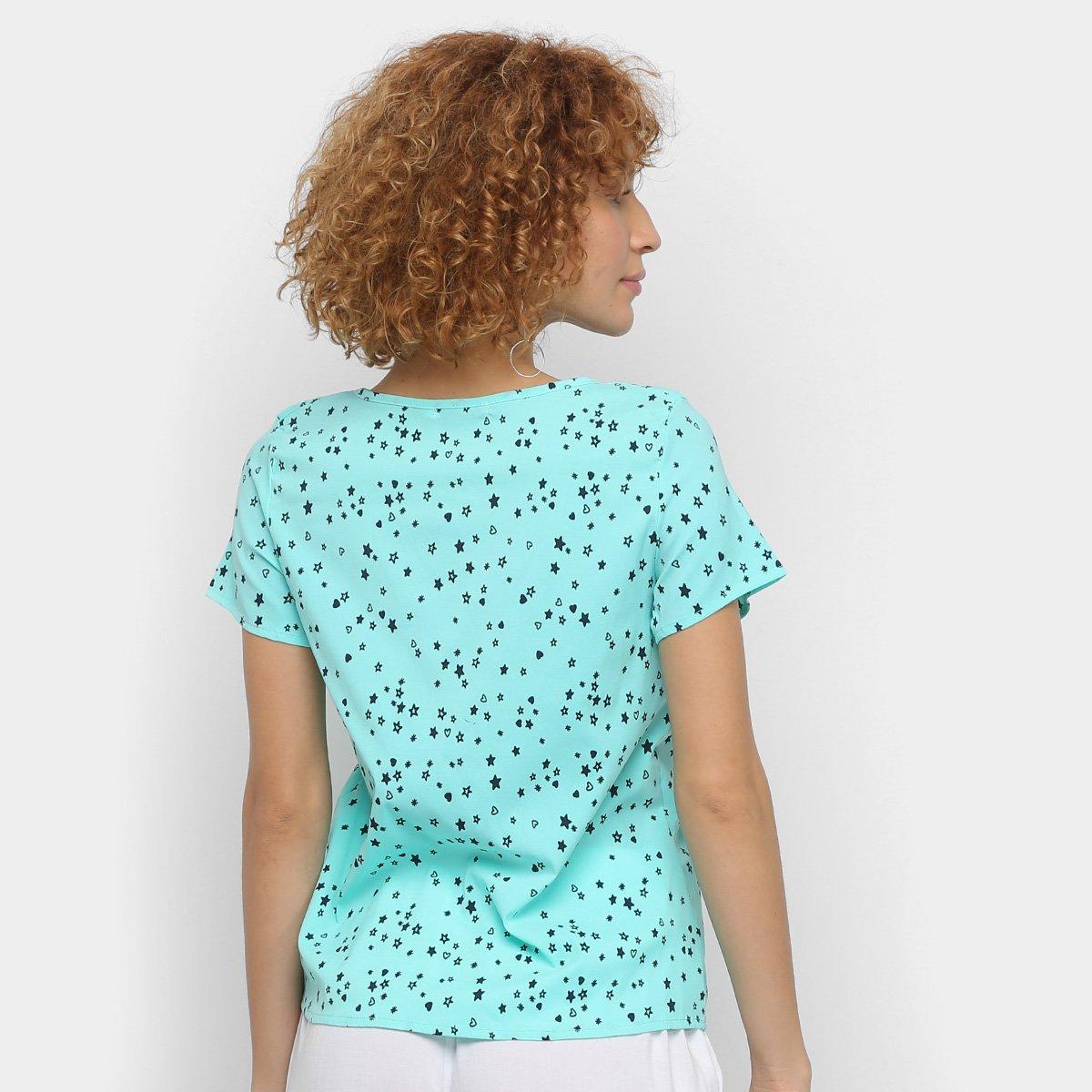 Blusa Mi Estrelas Botões Feminina - Verde