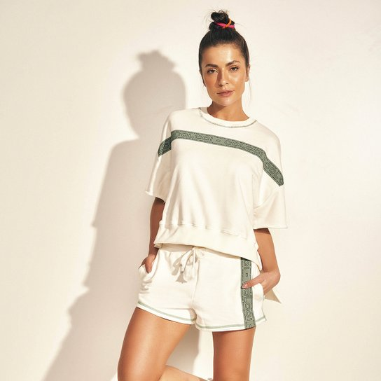 Blusa Moletom Colcci Eco Ective Feminina - Off White