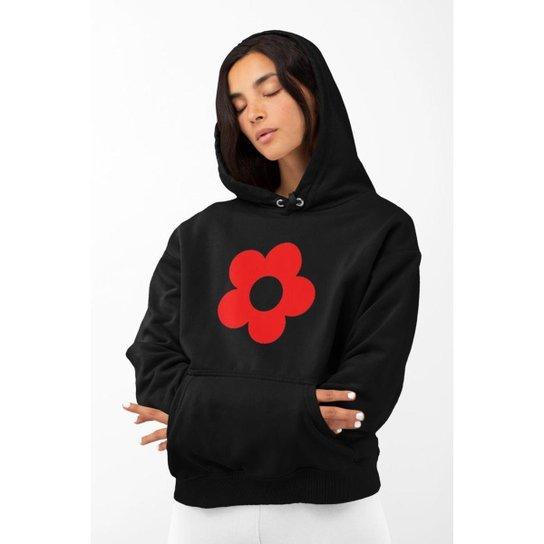 Blusa Moletom Feminino GinTropical Flor em algodão com capuz - Preto