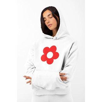 Blusa Moletom Feminino GinTropical Flor em algodão com capuz