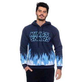Blusa Moletom Kings Fogo Azul Emporio Alex