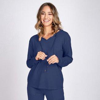 Blusa Moletom Leve Decote V com Capuz Azul Noite