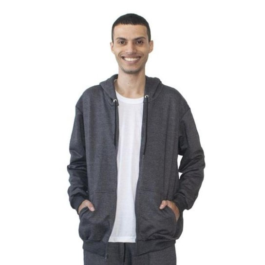 Blusa Moletom Masculino Capuz Zíper Conforto Macia Inverno - Chumbo