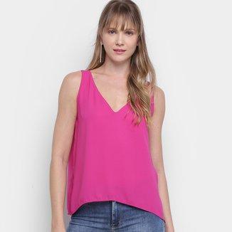 Blusa Morena Rosa Com Decote Cavado Regata Feminina