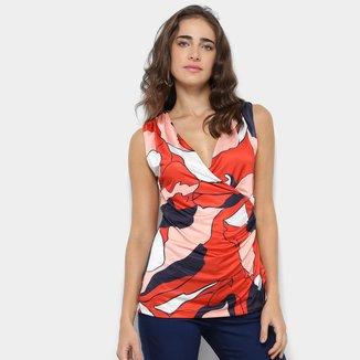Blusa Morena Rosa Estampada Cavada Transpassada Decote Costas Feminina