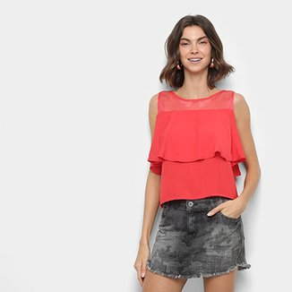 Blusa MS Fashion Babado Tule Feminina