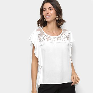 Blusa MS Fashion Renda Feminina