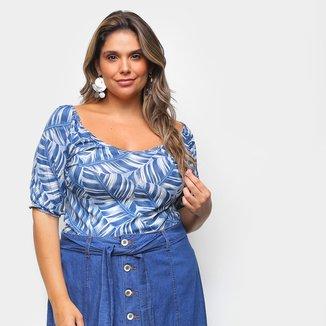 Blusa Naif Plus Size Básica Folhagens Feminina