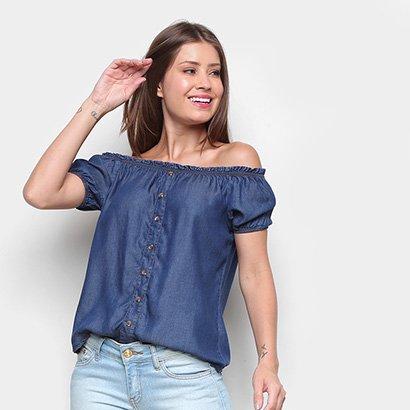 Blusa Ombro a Ombro Cambos Jeans Botões Feminina