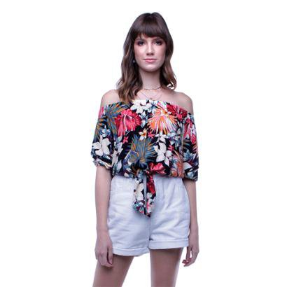 Blusa Ombro a Ombro Floral Pop Me Feminina