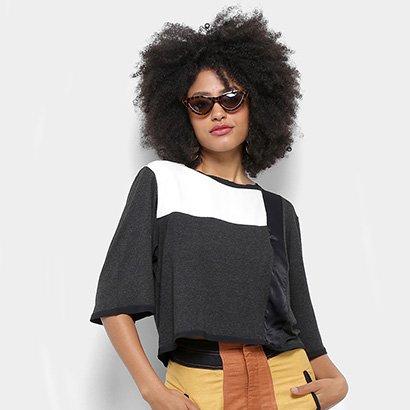 Blusa Open Cropped Bicolor Feminina