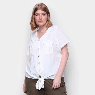Blusa Plus Size Eagle Rock Amarração Frontal Feminina