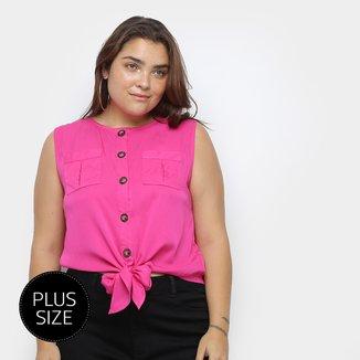 Blusa Regata Heli Amarração Bolsos Feminina