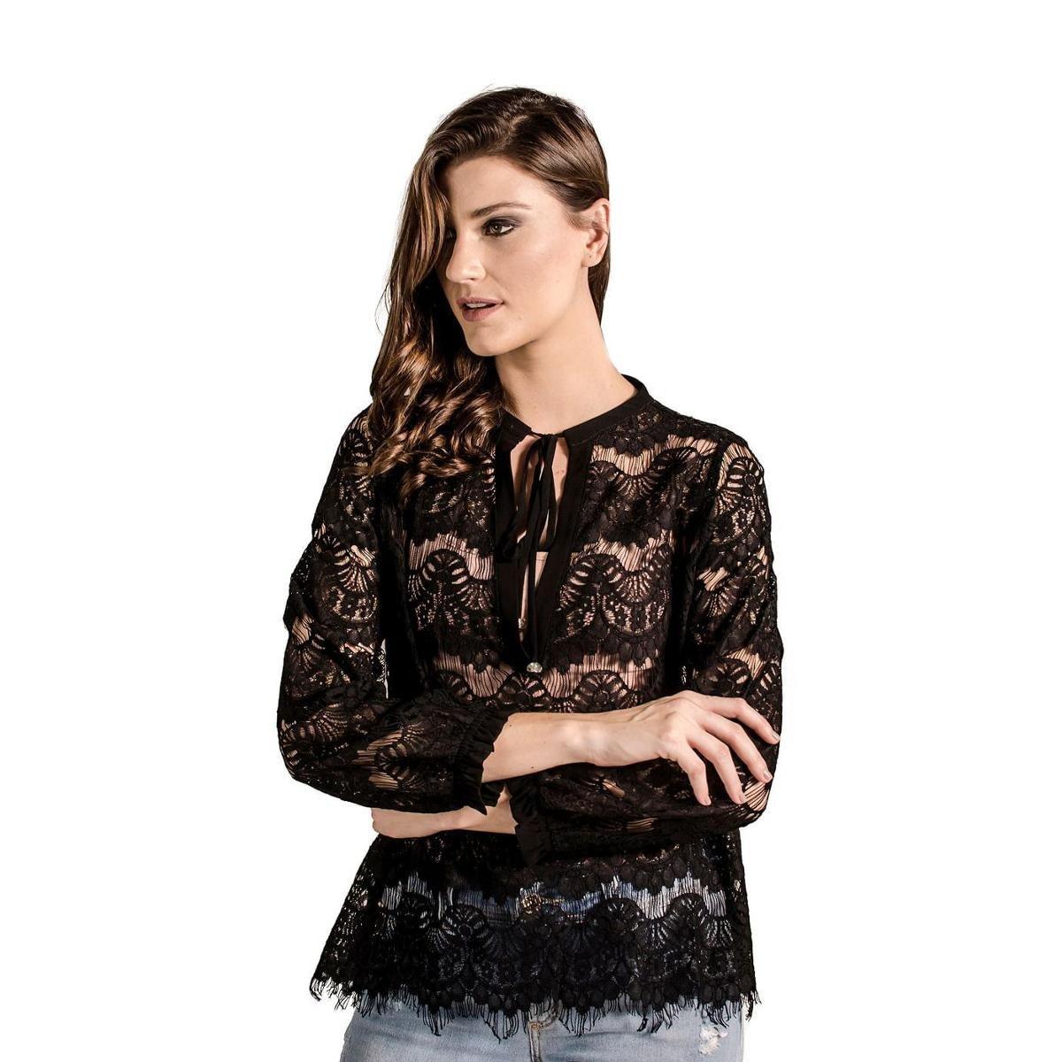 cccac13c9c Blusa Renda Vazada Manga Longa Lume Feminina - Compre Agora