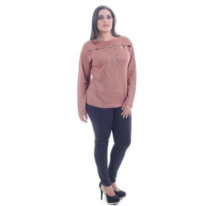 Blusa Saes Tricô Plus Size Flamme Abertura Busto Chapinha Ferrugem-Feminino