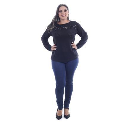 Blusa Saes Tricô Plus Size Flamme Abertura Busto Chapinha-Feminino