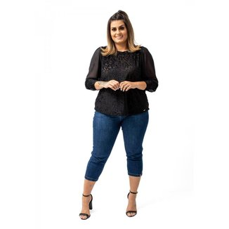 Blusa Soltinha Veludo Tule Elegante Confortável Plus Size