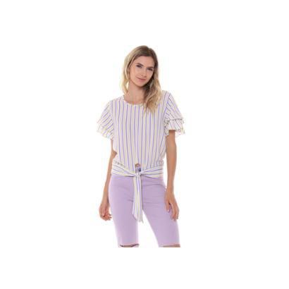 Blusa Studio 21 Fashion Stripe Babados