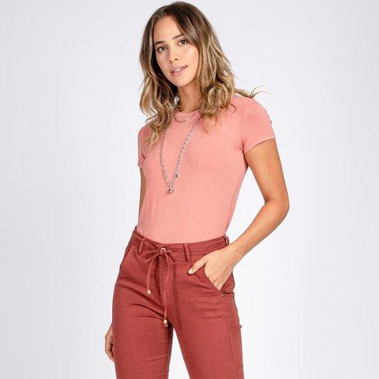 Blusa T-Shirt Decote Careca Manga Curta Cor Gérbera - Rosa Claro