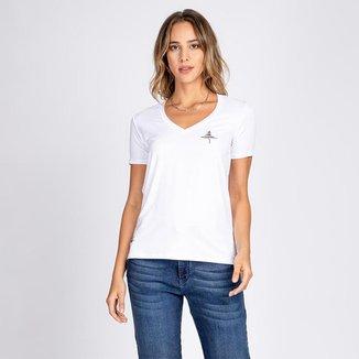 Blusa T-Shirt Decote V Estampa à Mão