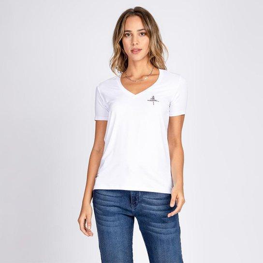 Blusa T-Shirt Decote V Estampa à Mão - Branco