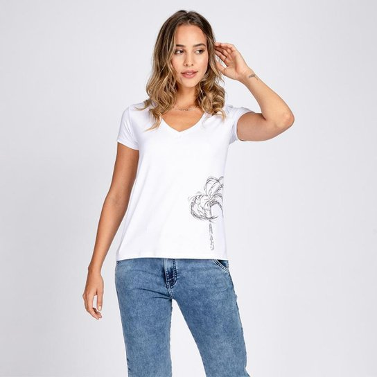 Blusa T-Shirt Decote V Estampa Coqueiro à Mão - Branco