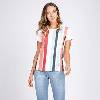 Blusa T-Shirt Listras Decote Redondo