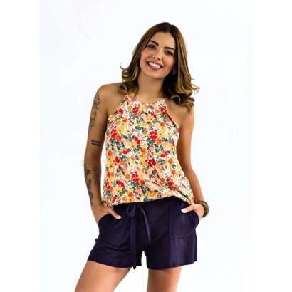 Blusa The Style Box Alcinha Pregas Decote-Feminino