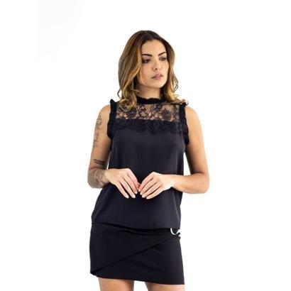 Blusa The Style Box Decote Renda Com Babados-Feminino