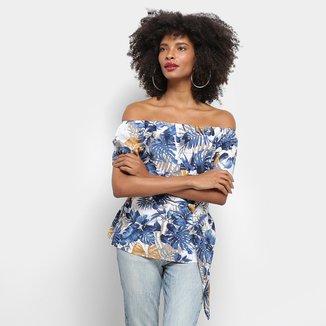 Blusa Top Modas Ombro a Ombro Estampa Floral Detalhe Amarração Feminina