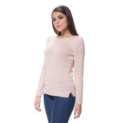 Blusa Tricot Alto Relevo Fenda Lateral Dia A Dia Feminina-Feminino