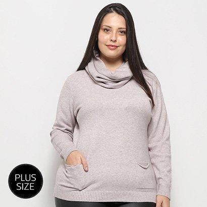 Blusa Tricot City Lady Plus Size Gola Removível Feminina-Feminino