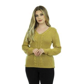 Blusa Tricot Lavínia Feminina Lã Shopping do Tricô Inverno Gola V