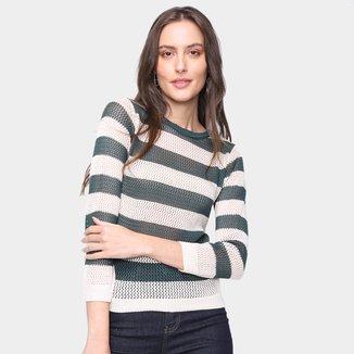 Blusa Tricot Mercatto Tela Listrada Feminina