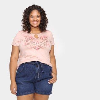 Blusa Wee! Plus Size Básica Floral Feminina